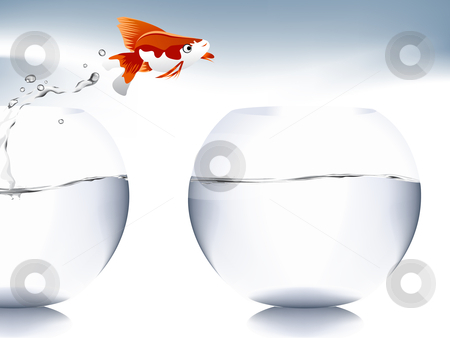 goldfish jumping  stock vector clipart, A goldfish jumping out of the water to escape to freedom. by Nabeel Zytoon