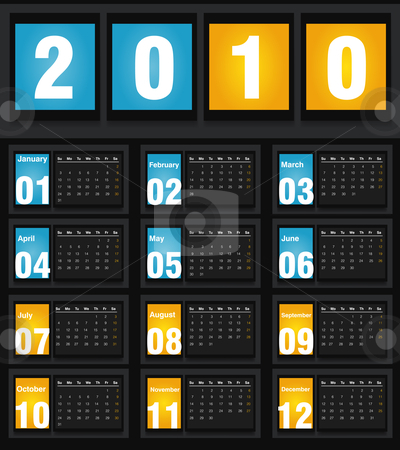 2010 Calendar stock vector clipart, Vector illustration of 2010 Calendar, easy to edit. by Nabeel Zytoon