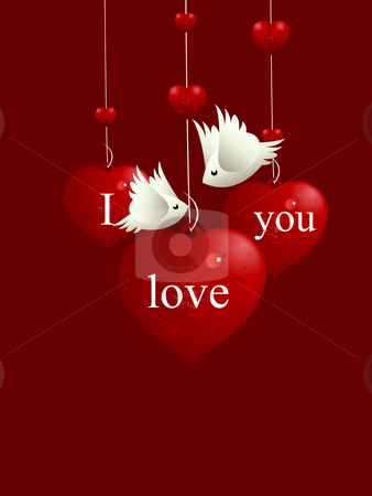 Love Illustration stock vector clipart, Valentine's Day Concept, lovebirds flying around love hearts by Nabeel Zytoon