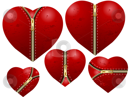 Valentine's Day Concept stock vector clipart, Valentine's Day Concept, set of zipped love hearts. by Nabeel Zytoon