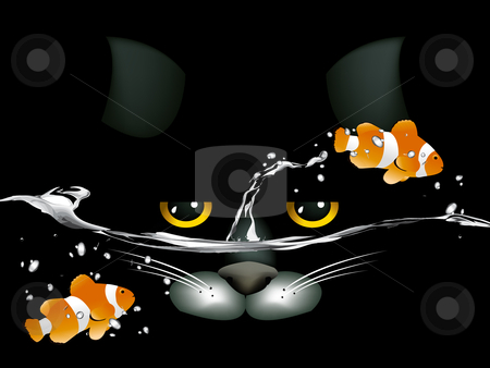 Black cat looking at two clown fish stock vector clipart, Black cat looking at two clown fish. by Nabeel Zytoon