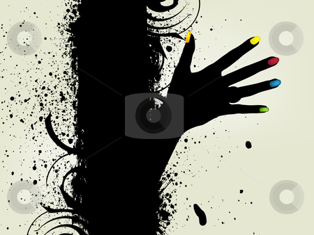 Abstract Background stock vector clipart, Vector illustration of Grunge banner with an inky dribble strip and hand. by Nabeel Zytoon