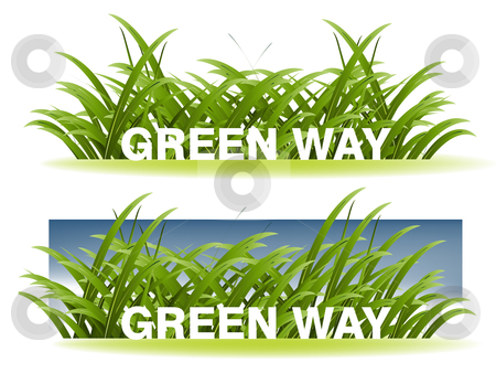 Ecology concept  stock vector clipart, Green Grass and pure sky background, spring season. by Nabeel Zytoon