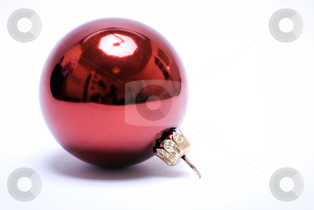 Christmas and New Year decorations    stock photo, Red Christmas ball isolated on white background by Kirill Kedrinski