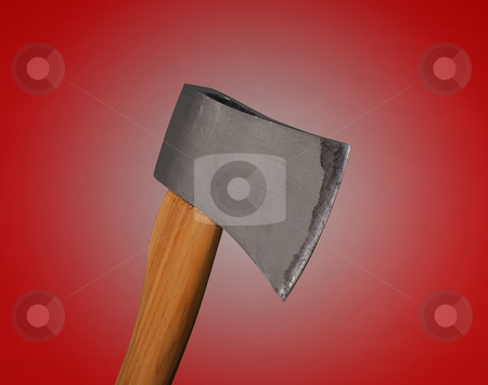 Sharp axe stock photo, Metal axe with wooden handle on red background. by Boaz Yiftach