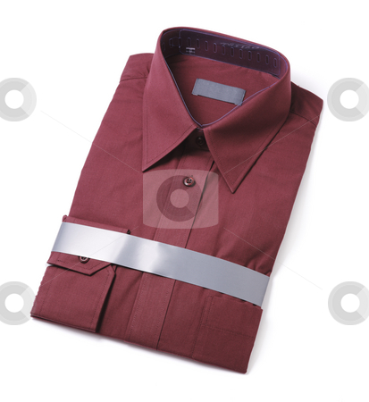 New shirt stock photo, New men's red dress shirt isolated on white with natural shadows by Stocksnapper
