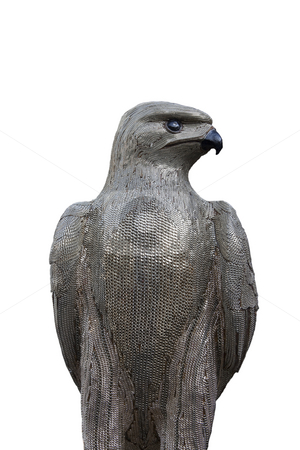 Eagle Statue stock photo, A silver beaded eagle statue on a white cutout background by Kevin Tietz