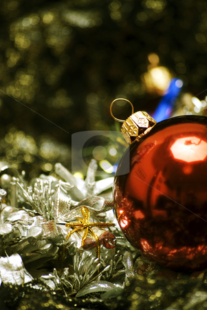 Christmas and New Year decorations   stock photo, Different Christmas decorations  on the sheer black material by Kirill Kedrinski