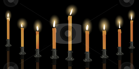 Nine candle menorah stock photo, Nine candle menorah over black background, Hanukkah decoration by Richard Laschon