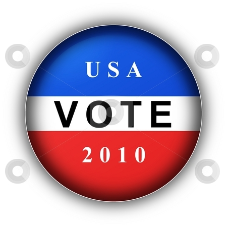 Vote Button 2010 stock photo, Red white and blue vote button for 2010 by Henrik Lehnerer