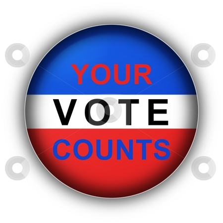 Your Vote Counts stock photo, Red white and blue vote button Your Vote Counts by Henrik Lehnerer