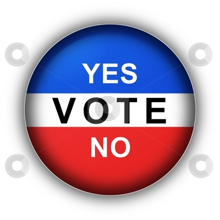 Yes Vote No stock photo, Red white and blue vote button Yes Vote No by Henrik Lehnerer