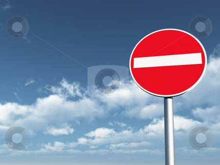 Do not enter stock photo, Do not enter - roadsign under cloudy blue sky - 3d illustration by J?