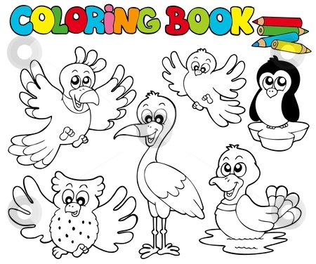 Coloring book with cute birds 1 stock vector clipart, Coloring book with cute birds 1 - vector illustration. by Klara Viskova