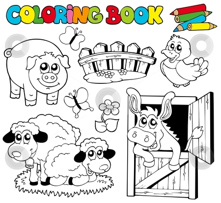 Coloring book with farm animals 2 stock vector clipart, Coloring book with farm animals 2 - vector illustration. by Klara Viskova