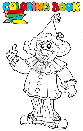 Coloring book with funny clown stock vector clipart, Coloring book with funny clown - vector illustration. by Klara Viskova