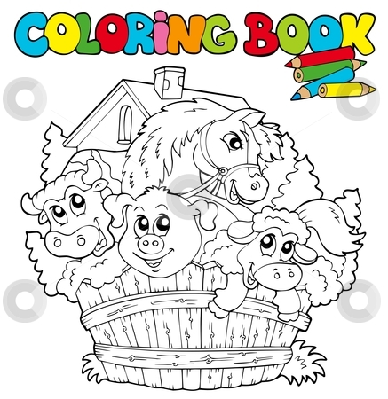 Coloring book with cute animals 2 stock vector clipart, Coloring book with cute animals 2 - vector illustration. by Klara Viskova
