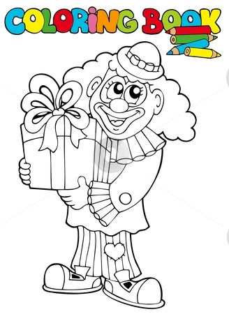 Coloring book with clown and gift stock vector clipart, Coloring book with clown and gift - vector illustration. by Klara Viskova