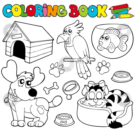 Coloring book with pets 1 stock vector clipart, Coloring book with pets 1 - vector illustration. by Klara Viskova