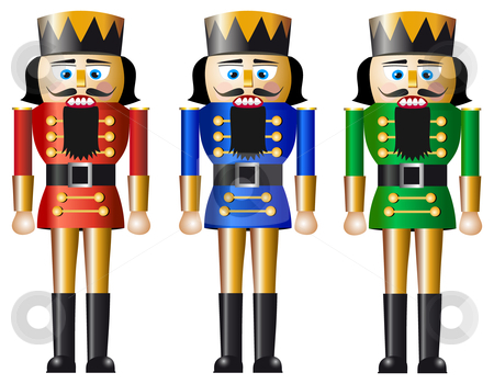 Christmas nutcracker stock vector clipart, Nutcracker, design in three variations, isolated on white background, full scalable vector graphic included Eps v8 and 300 dpi JPG. by Ela Kwasniewski