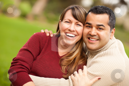 Attractive Mixed Race Couple Portrait stock photo, Attractive Mixed Race Couple Portrait in the Park. by Andy Dean