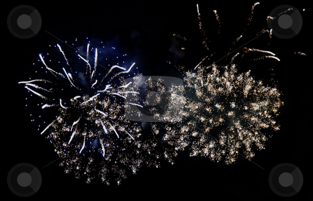 Fireworks stock photo, Fireworks exploding over a completely black background by Fabio Alcini