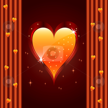 Love heart, valentine, wedding anniversary stock vector clipart, Love heart for valentines day or wedding anniversary. Bright orange on dark brown glowing background and stars. Copy space top and bottom for text. by toots77