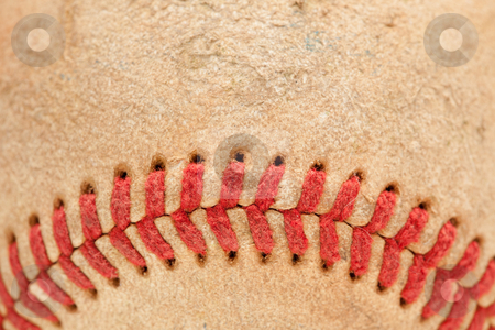 Macro Detail of Worn Baseball stock photo, Macro Abstract Detail of Worn Leather Baseball. by Andy Dean
