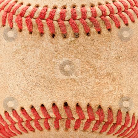 Macro Detail of Worn Baseball stock photo, Macro Abstract Detail of Worn Leather Baseball. by Andy Dean
