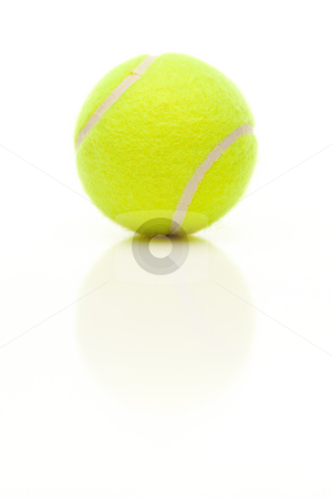 Single Tennis Ball on White with Slight Reflection stock photo, Single Tennis Ball with Slight Reflection Isolated on a White Background. by Andy Dean