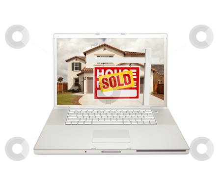 Sold For Sale Real Estate Sign on Laptop  stock photo, Sold For Sale Real Estate Sign on Computer Laptop Isolated on a white Background. by Andy Dean