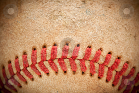 Macro Detail of Worn Baseball stock photo, Macro Abstract Detail of Worn Leather Baseball with Vignette. by Andy Dean