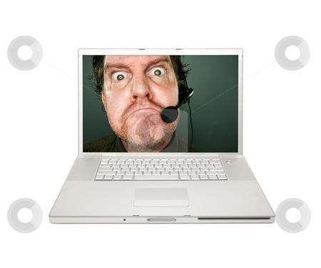 Grumpy Customer Service Man on Laptop Screen stock photo, Grumpy Customer Service Man on Laptop Screen Isolated on a White Background. by Andy Dean