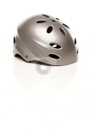 Silver Bike Helmet on White stock photo, Silver Bike Helmet Isolated on a White Background. by Andy Dean