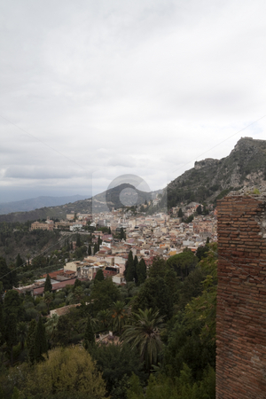 City of Messina stock photo, Looking over the overcast hills of Messina, Italy by Kevin Tietz