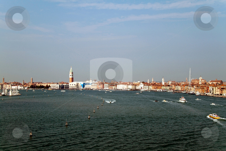 Venice Canal stock photo, A cityscape view of Venice, Italy from high above the water. by Kevin Tietz