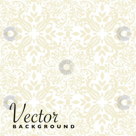 Floral beige repeat stock vector clipart, Beige floral seamless repeat background with square tile by Michael Travers