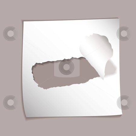 Paper element torn hole stock vector clipart, Piece of white square paper with hole torn and drop shadow by Michael Travers