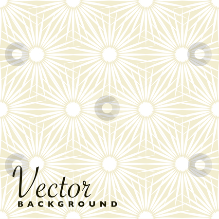 Beige floral explosion background stock vector clipart, Abstract beige and white floral background with seamless pattern by Michael Travers