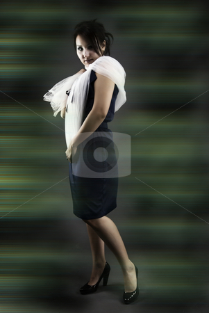 Portrait of a young girl    stock photo, Portrait of a young beautiful brunette  standing up straight by Kirill Kedrinski