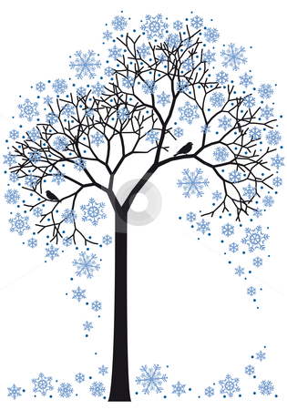 Winter tree, vector stock vector clipart, Winter tree with snowflakes, vector background by Beata Kraus