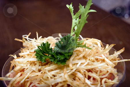 Fresh Salad   stock photo, Salad with crunchy potato in glass by Kirill Kedrinski