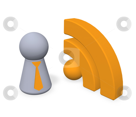Rss stock photo, Play figure with tie and rss symbol - 3d illustration by J?