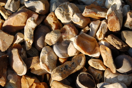 Flint Chips / Stones stock photo, Flint chips / Stones / Pebbles used in garden landscaping, construction and decorational used by Paul Howarth