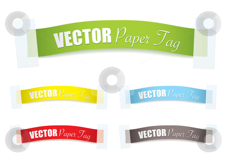 Paper sticker tag stock vector clipart, Collection of paper ribbons with tape and copy space by Michael Travers