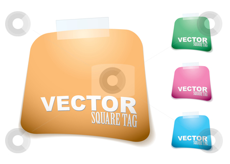 Square paper tag stock vector clipart, Collection of square paper icons with tape and shadow by Michael Travers