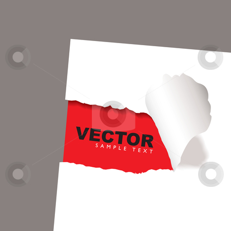 Torn paper reveal red stock vector clipart, Torn paper icon with red background and copy space by Michael Travers