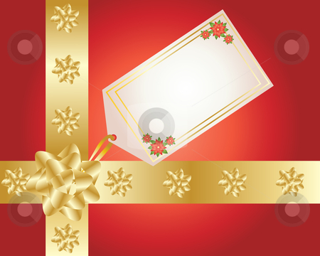 Christmas present stock vector clipart, An illustration of a christmas present with gold ribbon gift tag and decoration on a red background by Mike Smith