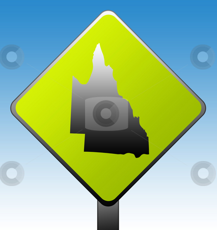 Queensland Road sign stock photo, Queensland in Australia green diamond shaped road sign with gradient blue sky background. by Martin Crowdy