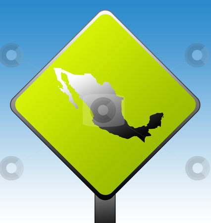 Mexico road sign stock photo, Mexico map on green diamond shaped road sign with gradient blue sky background. by Martin Crowdy